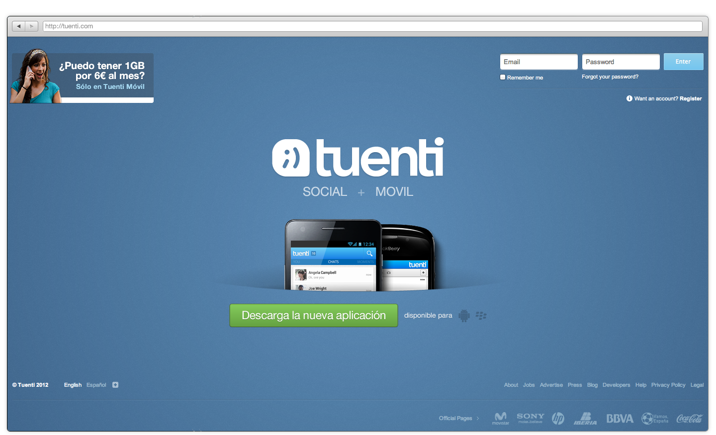 Website de Tuenti